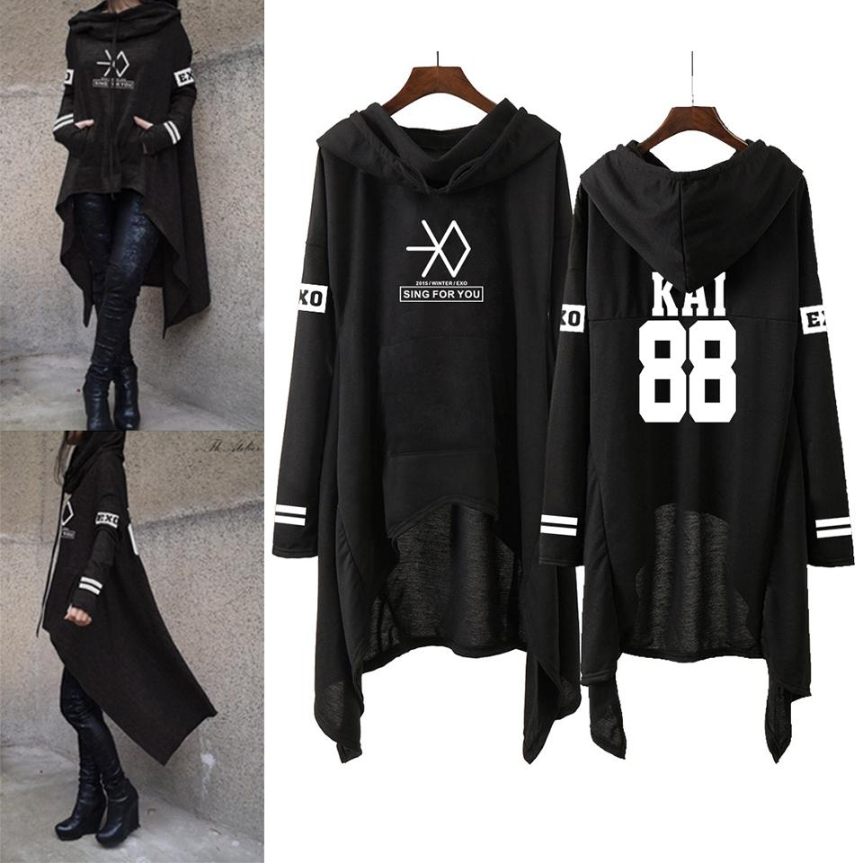 Kpop Exo New Fashion coreano Exo Do Lay Se Hun Kai canto para você Exo Hoodies saia longa Mulheres Harajuku capuz Meninas Pullovers Y200930