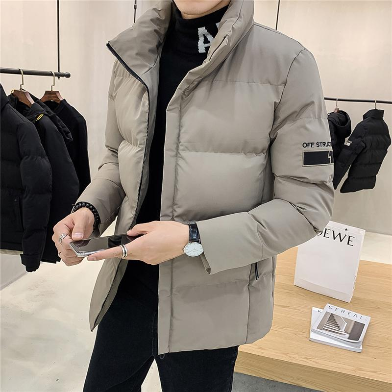 Men's Zipper High-necked Casual Padded Coat Warm Thick Male Jackets Men Cotton Overcoats Brand Clothing 3 Color 4XL 201028