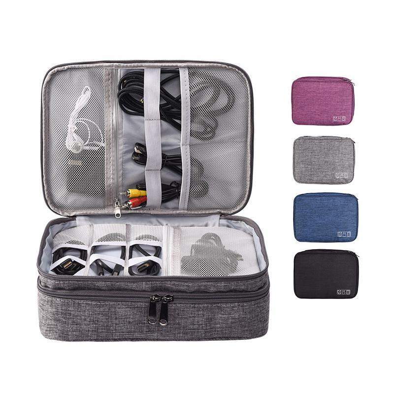 Diseño Cables de almacenamiento de doble capa / cargador / organizador cosmético Bolsa de bolso Caja de viaje Chlmu