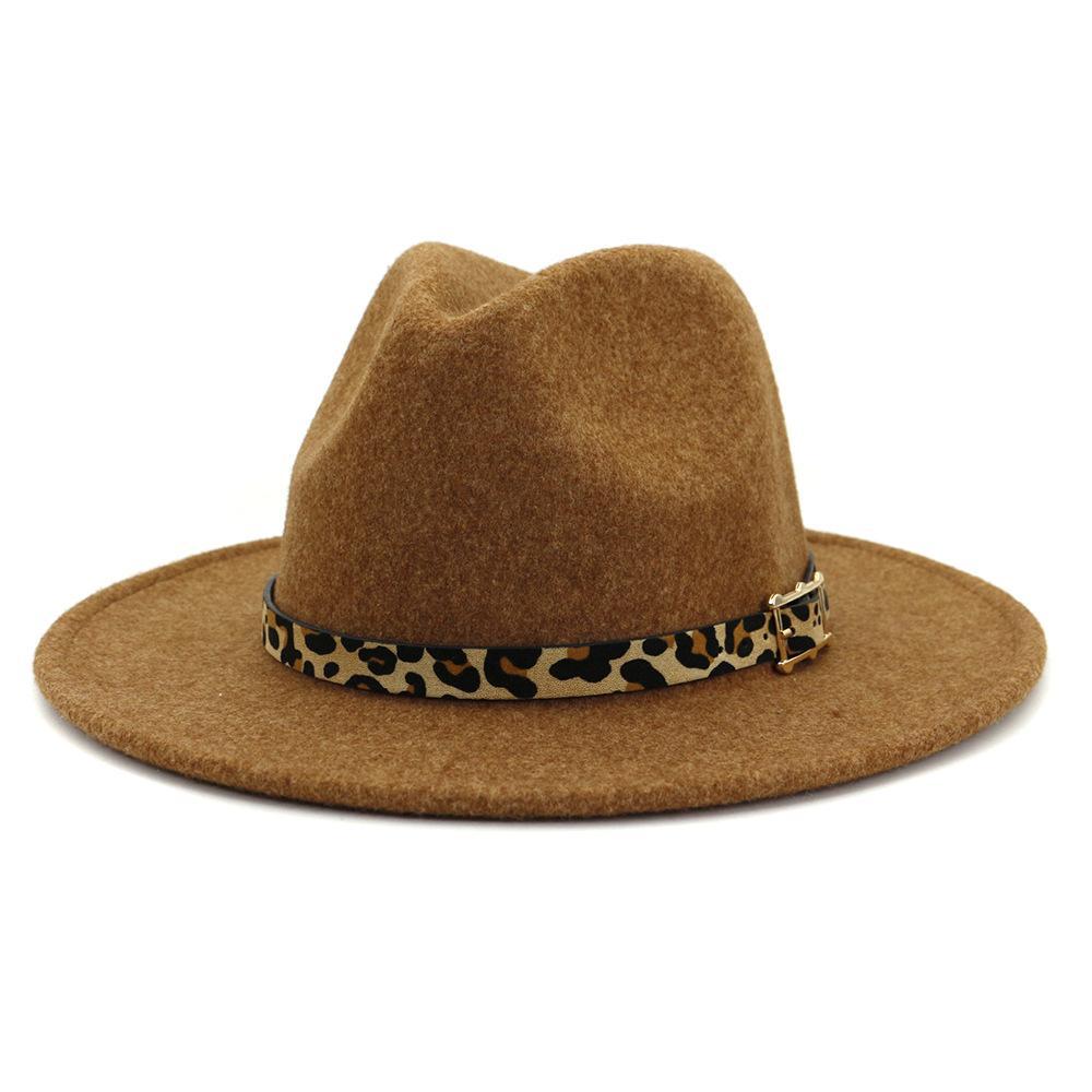 عارضة واسعة بريم بيغ الصوف فيدورا قبعة للمرأة النمط البريطاني رجل بنما الجاز قبعة مع حزام الفهد