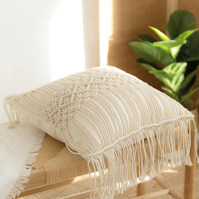 Cushion Geometry 100% Cotton Covers Macrame Hand-woven Thread Pillow Linen 45*45cm Bohemia Covers Pillowcase Home Decor Style Gdmfe