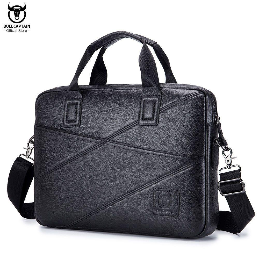 BULLCAPTAIN 2020men's briefcase business handbag can be used for 15 inch laptop casual shoulder messenger bags leather bag men Q0112