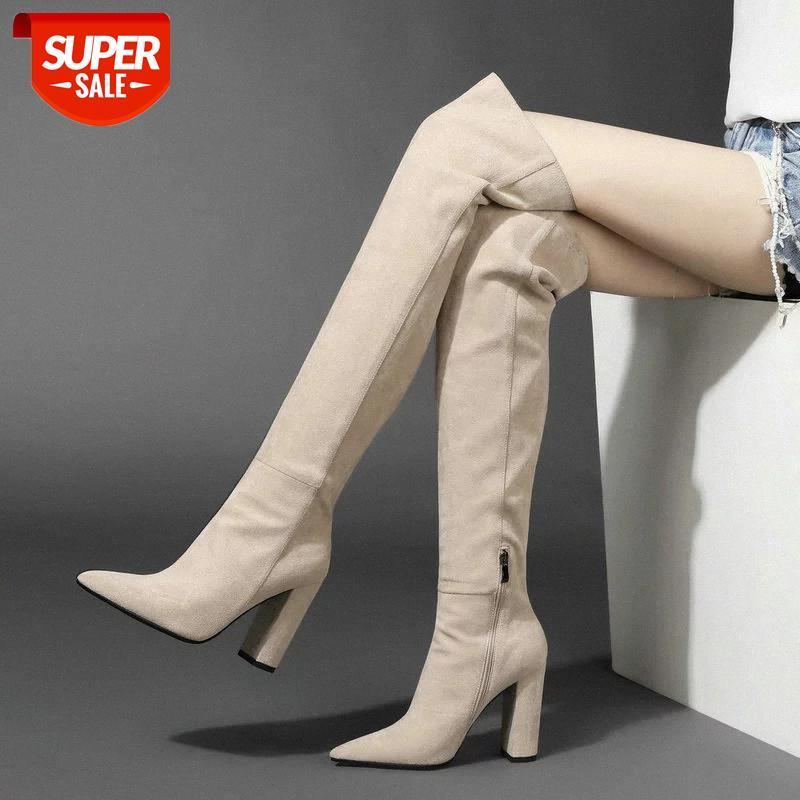Faux Stelt на колене сапоги женщины мода заостренный носок на высоком каблуке бедра высокие сапоги женские зимние теплые длинные бежевые черные # кс48
