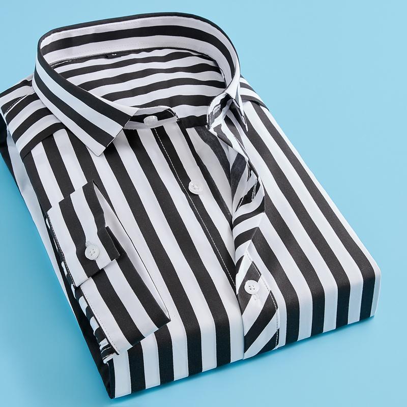 Striped manicotto dei tre quarti a strisce della camicia degli uomini camicie a maniche corte Casual per gli uomini Slim FitMale Camicie Camisas Masculina