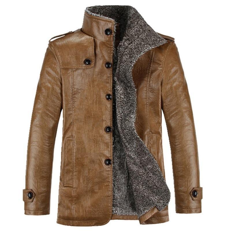 Chaqueta de cuero retro de invierno chaquetas cálidas abrigo de visión del Ártico Outwear Outwear Male engrose casual Abrochas a prueba de viento