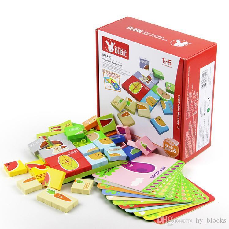 41 stücke pädagogische geschenke diy kinder für früchte spielzeug spielzeug kreative kinder und gemüse planar puzzles spaß kognitive blocks bauen cfrwd