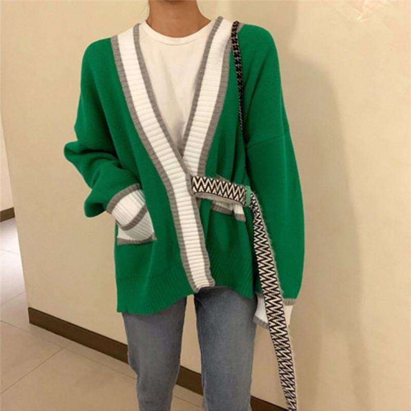 Mulheres Outono camisola botões único patchwork V-neck sexy verde branco solto casaco Cardigans manga longa de malha ocasional coreana 200929