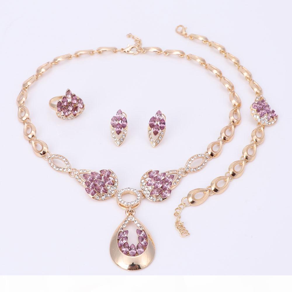 Mode Perles africaines Ensembles de bijoux pour Wome design nigérien Collier de mariage Dubaï plaqué or cristal Accessoires Bijoux