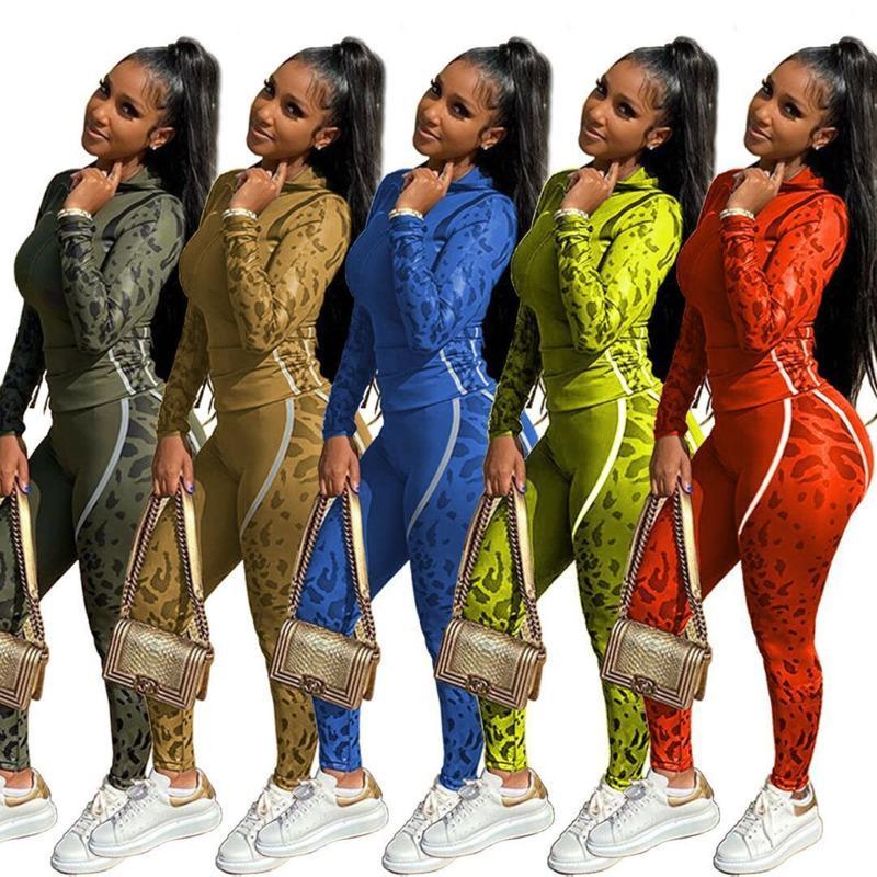 Designer Womens Couscsuit Двухструктура набор леопарда Print штаны наряды с длинным рукавом Sportswear рубашка брюки утсоит пуловер bodycom 976
