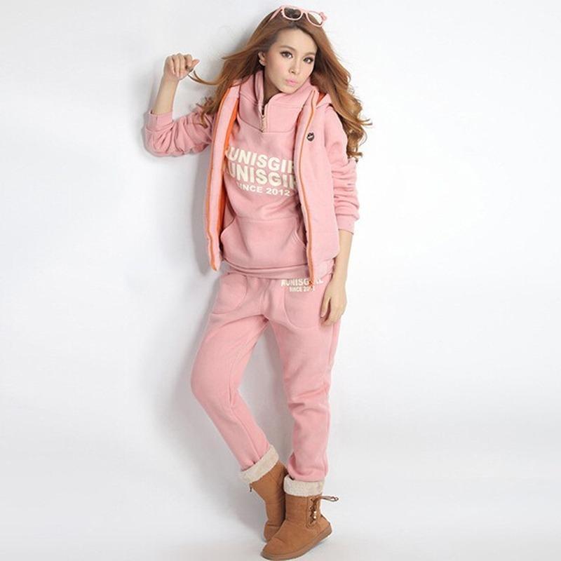 Qnpqyx New quentes Hoodies espessamento Feminino furring 3 peças ternos Outono e Inverno Define Mulheres Casual Hoodie Sports Sweater