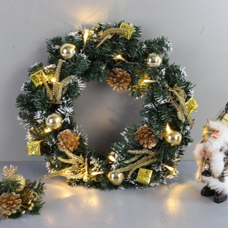 DIY Рождественский венок батарейках Светодиодный свет шнура Передняя дверь Подвесной Garland Дом отдыха украшения Xmas елочные украшения