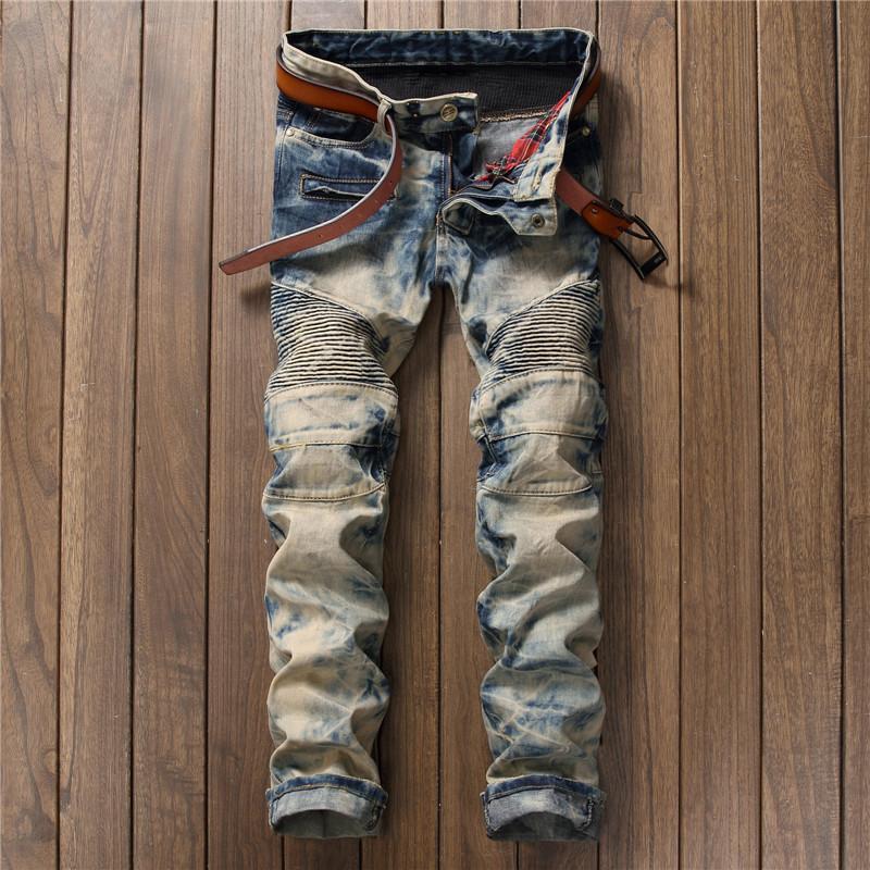 Mode Pantalon homme blanc affligé Brochage Retro Jeans automne et en hiver Street homme Pantalons bon marché Livraison gratuite