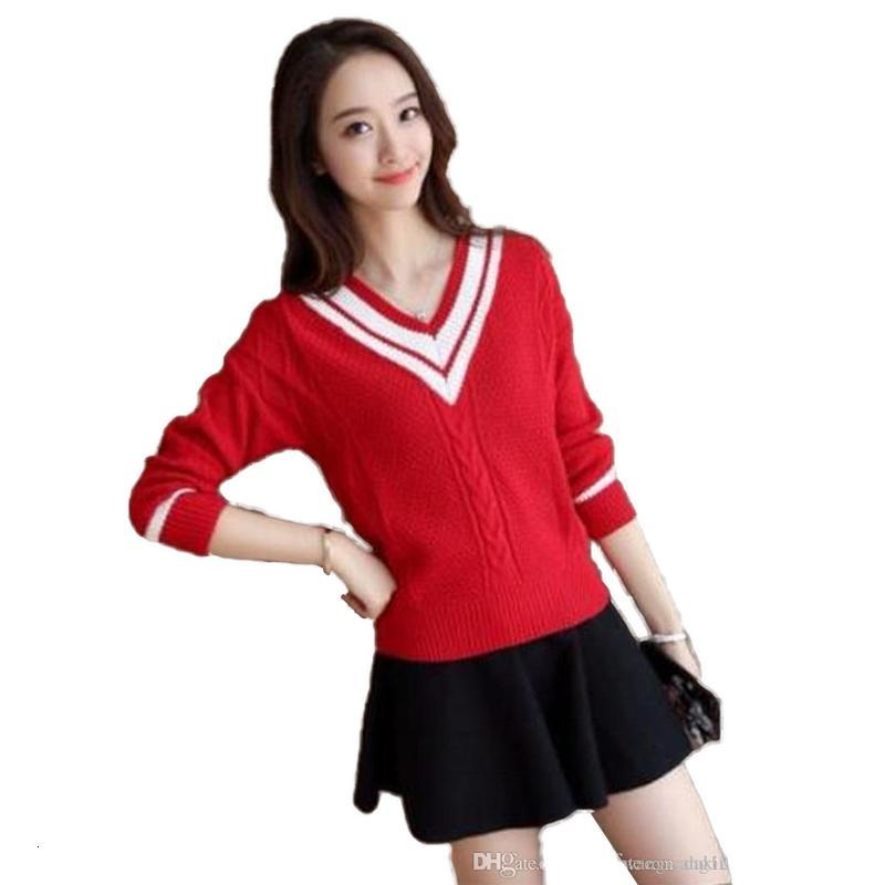 Femmes tricot Pull Spring Automne Europe Fashion Nouvelle tendance Stripe Vneck Slim Casual manches longues Twist Pull Crochet Pull de bonne qualité Tricoterie