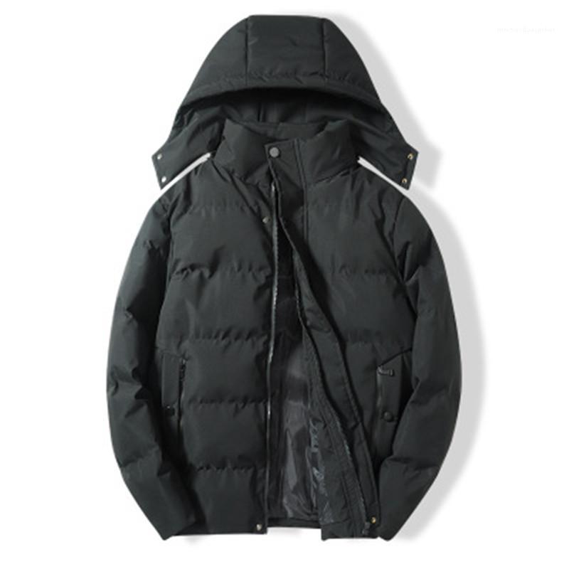 Kapüşonlu Mont Erkek Kış YENI Gevşek Katı Renk Giyim Erkek Kalınlaşmak Aşağı Ceketler Moda Eğilim Uzun Kollu Artı Boyutu Fermuar Düğmesi
