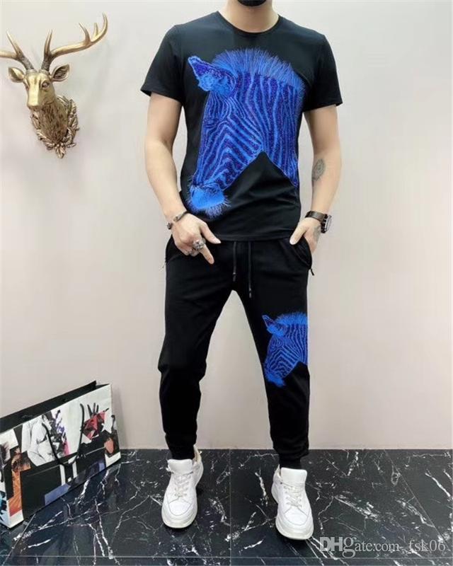 Best Seller European Designer Designer a strisce Zebra Hot Drilling Brand Abbigliamento sportivo per uomo e donna