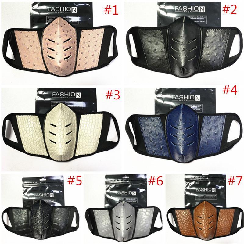Vollfarbgesichtsmasken Mode PU-Leder Männer Frauen Mundabdeckung Staubdichte Strauß Hautmaske Outdoor Atmungsaktive Schutzgruppe Maske 2021