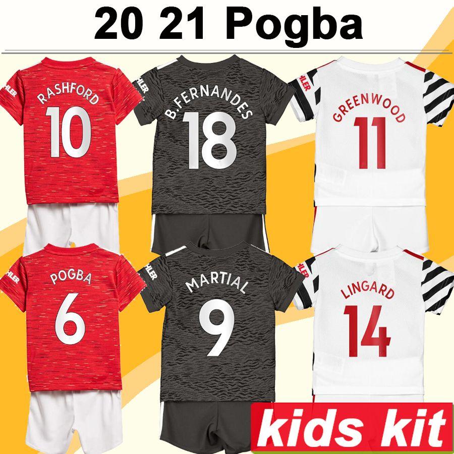 20 21 POGBA RASHFORD Kids kit Soccer Jerseys CAVANI MATA Home Away 3rd Goalkeeper Football Shirt MARTIAL LINGARD MATIC Child Short Sleeve