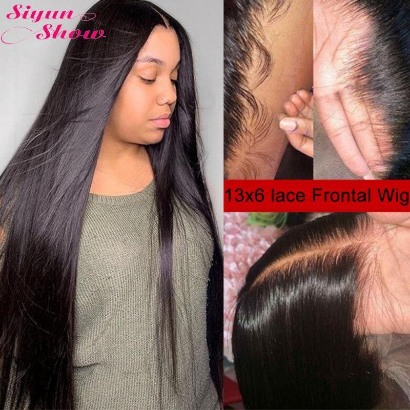 Sinin Show 250 Yoğunluk Dantel Peruk 30 Inç Brezilyalı Düz Saç Peruk Remy Pre Klumped 13x6 Dantel Ön İnsan Saç Peruk Kadınlar Için