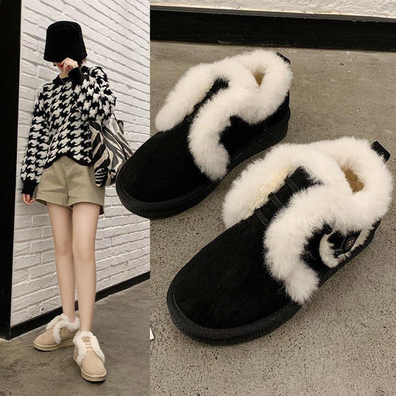 2020 Novas Mulheres de Inverno Grosso Sola Botas de Neve Plus Veludo Grosso Quente de Algodão Sapatos Outer Casual Flat Bottom Botões de Tubo Curto