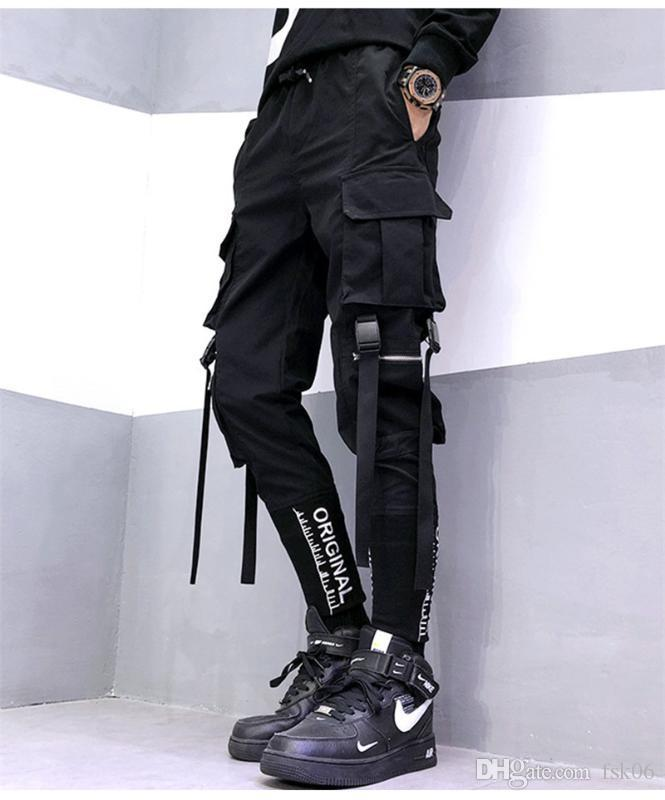 Мужчины уличные ленты карманы карманы гарем брюки мода тенденции повседневные спортивные штаны хип-хоп мужской взрослый тонкий карандаш брюки осень 2020