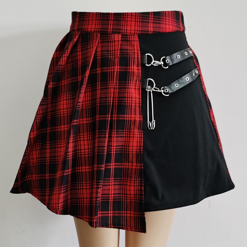 Женщины Harajuku Punk Нерегулярные мини-плиссированные фигуристки юбка асимметричная вырез высокой талии хип-хоп Clubwear готическая юбка Harajuku W1218