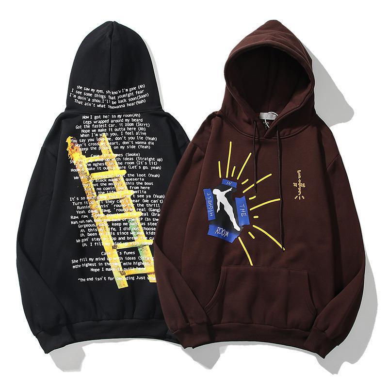 Men's Hoodies & Sweatshirts Highest In The Room Hoodie Men Ladder Printed High Fashion Sweatshirt Hip Hop 2021 Cactus Jack For Women