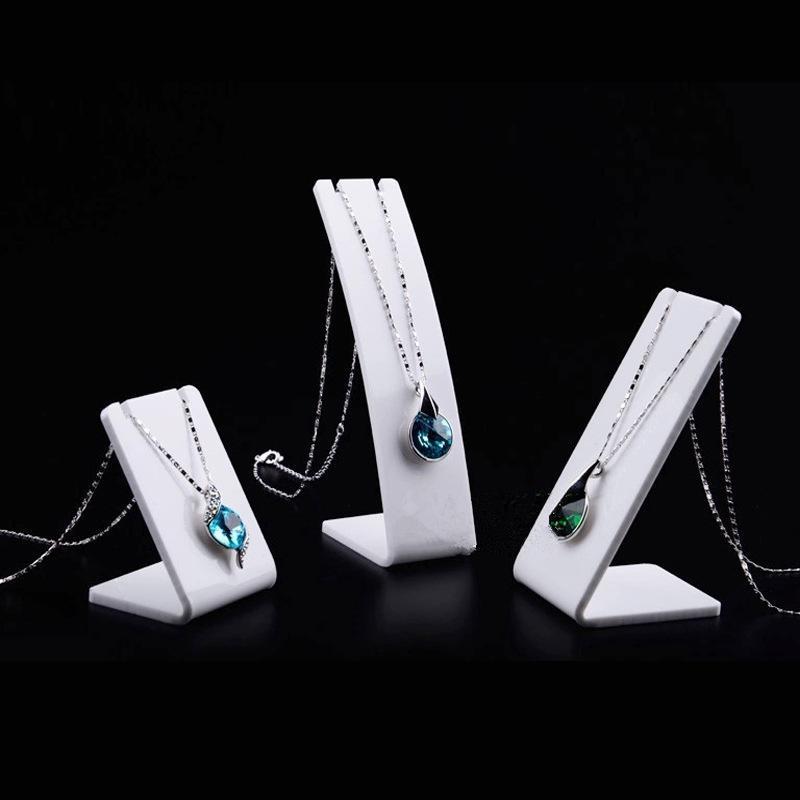 Collier acrylique blanc Collier bijouterie Porte-stand support Boucle d'oreille Pendentif Bijoux Exposition Stand Stand 3Size bijoux Affichage