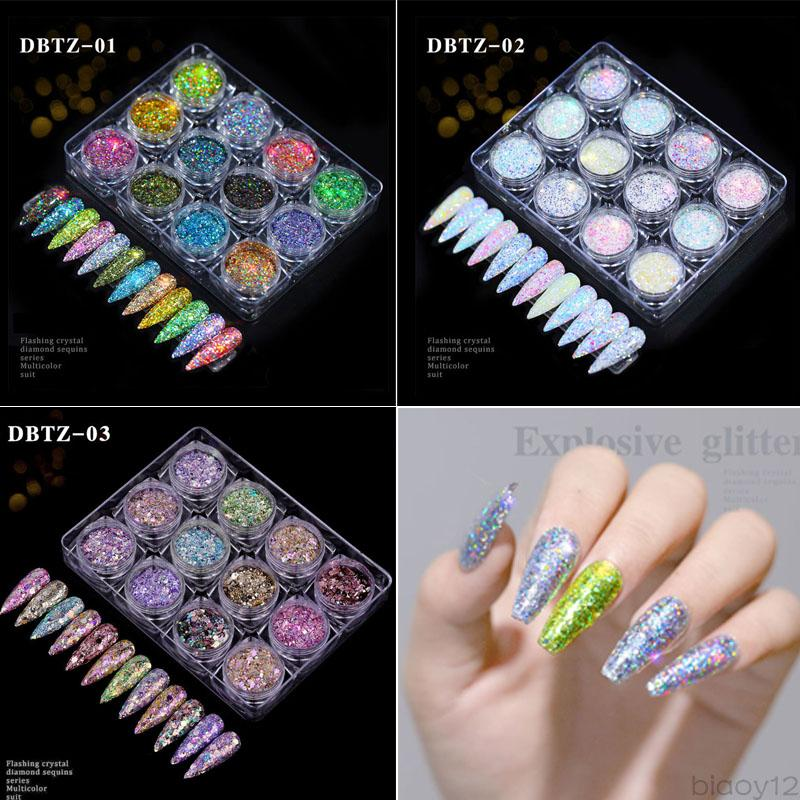 12 colors/set Nail Glitter Powders Flashing Crystal Diamond Sequins Series Multicolor Suit Fine shinning Mixed Package Christmas Gift Hot