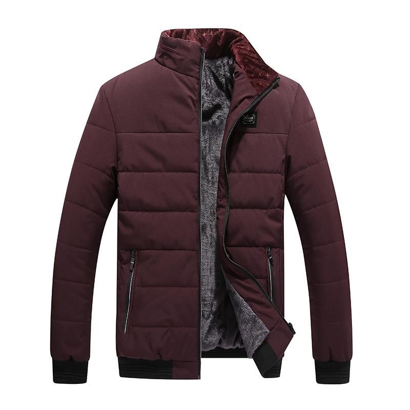 dos homens Inverno Jacket New Além disso Cashmere Blouson Homme Masculino Brasão gola Negócios Keep Warm roupas grossas Splice Algodão 201110