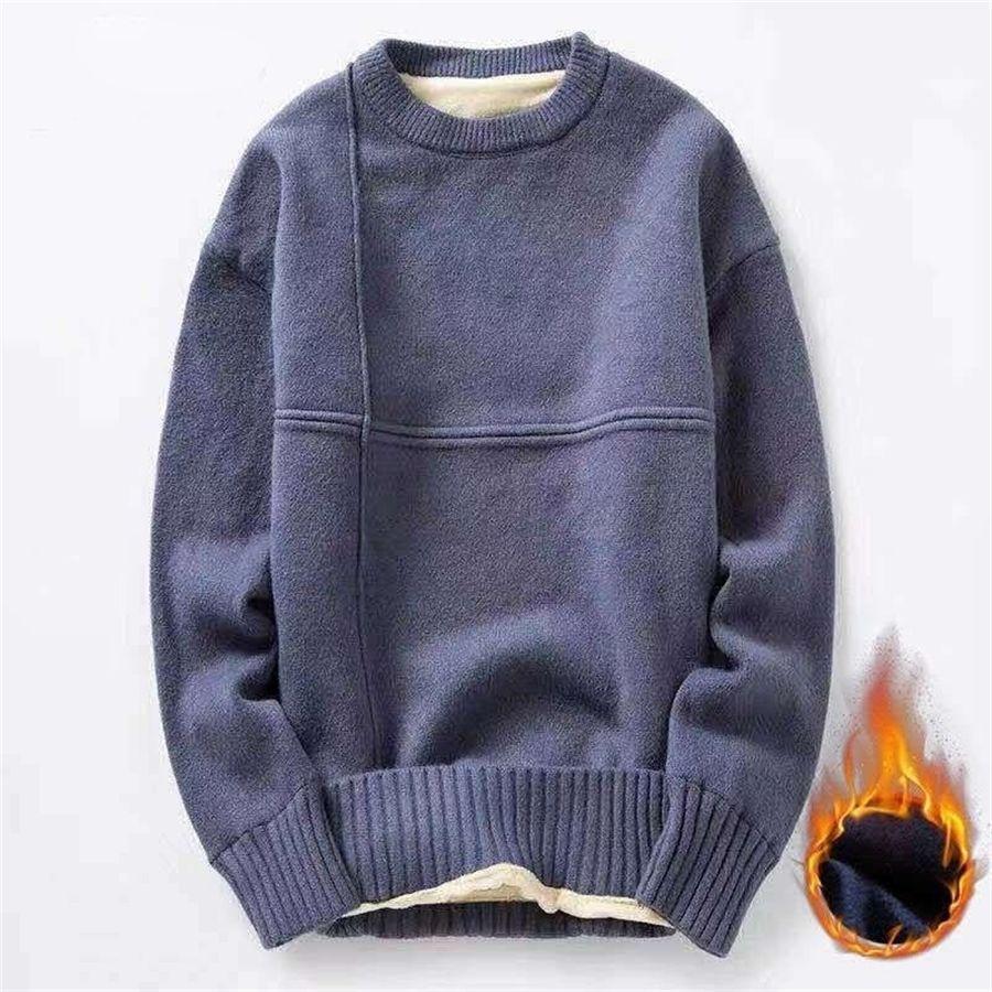 CADA de algodão de malha camisola homens outono inverno moda forro de lã sólida pulôvers Mens O-pescoço de espessura suéteres de grandes dimensões 201116