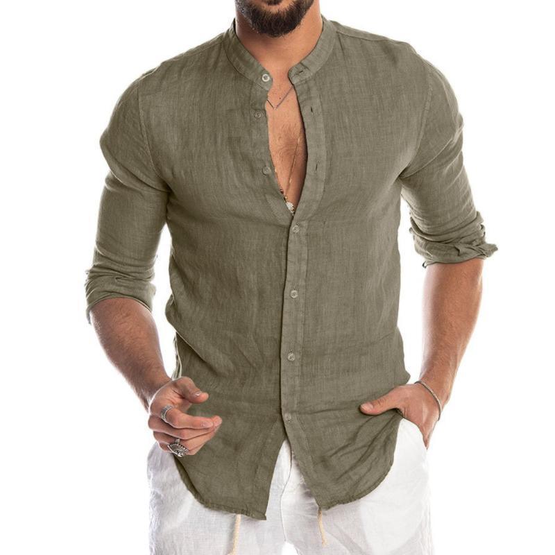 여름 캐주얼 셔츠는 솔리드 버튼 긴 소매 탑 블라우스 남성 비치 셔츠 남성 슬림핏 최고 슈 옴므 남성