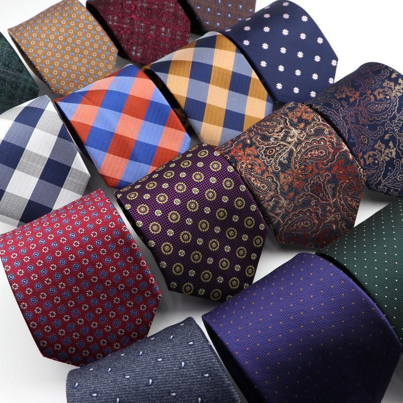 8cm Mens Fashion Tie Classic Plaid Formal Wear Business Suit Necktie Jacquard Wedding Male Daily Corbata Gravata Gift