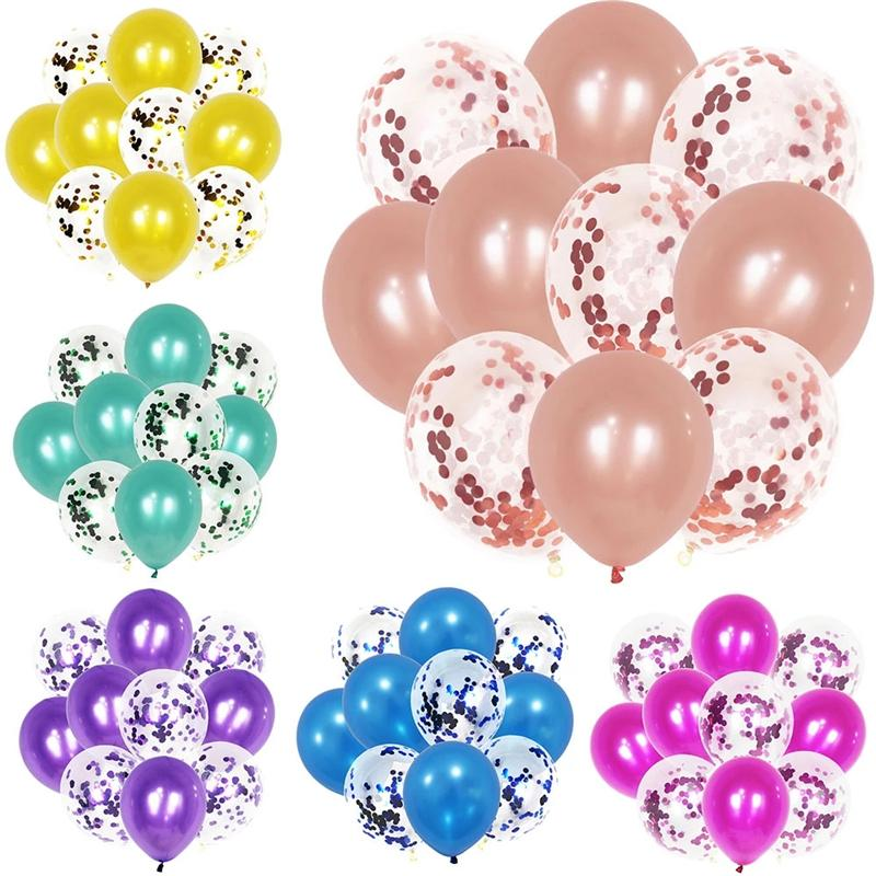 10pcs12 inch Confetti Sequin Transparent Balloon Set Wedding Room Decoration Children Birthday Party Decoration Supplies Balloon Decoration