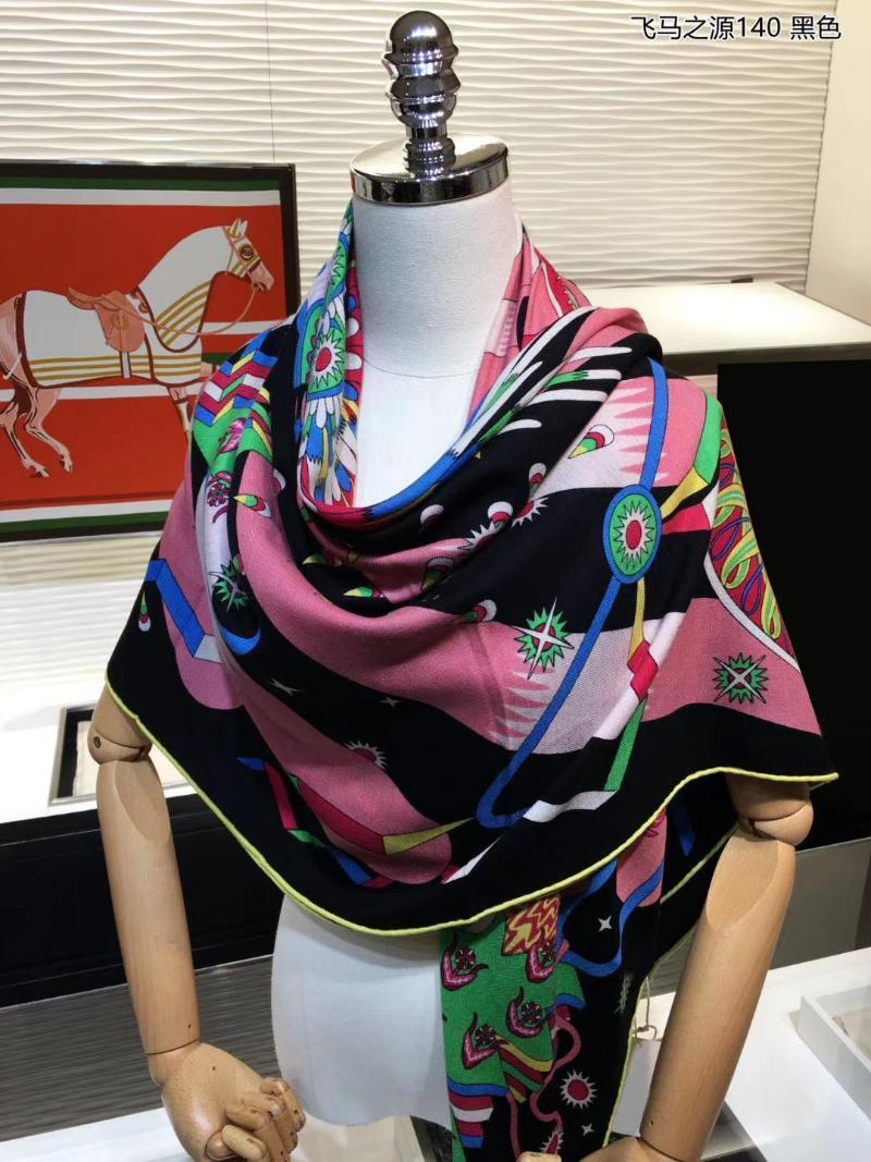 Schals 2021 Stil 70% Kaschmir 30% Seide dünne Schal Damen Mode Pferd Drucken Schal Kerchief Große Decke Stola 54x54 Zoll