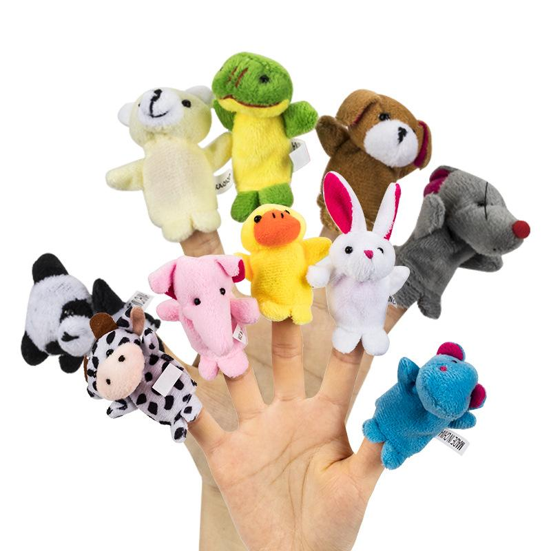 Chinese Zodiac 12pcs/lot Animals Cartoon Biological Finger Puppet Plush Toys Baby Favor Finger Dolls C46