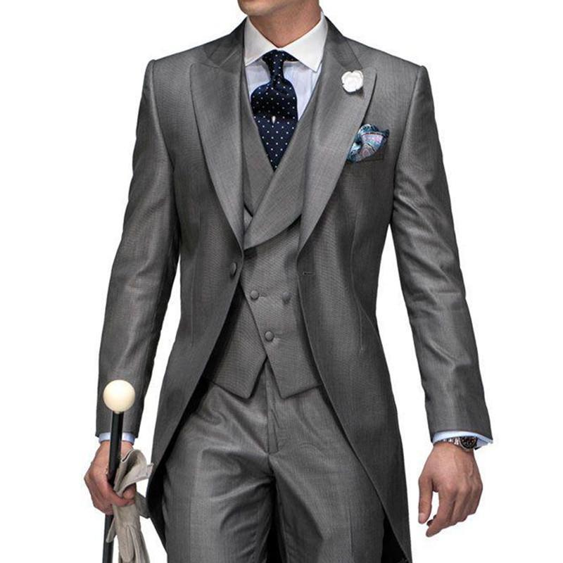 Men's Suits & Blazers Design Grey Groom Tuxedos Costume Homme Mariage Men Suit Mens Jacket+Pants+Tie+Vest 2021 Wedding For