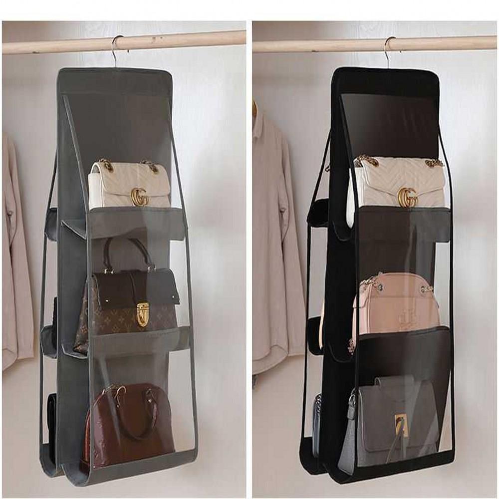 موضة جديدة طوي 6 جيب شنقا حقيبة يد المنظم 3 طبقات قابلة للطي الرف لخزانة خزانة خزانة حقيبة الباب الجدار واضح حقيبة متنوعة حقيبة