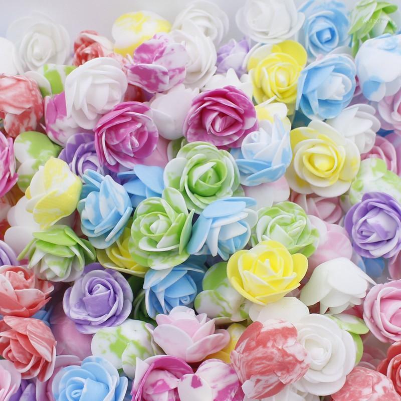 50 stücke Multi-Color Foam Rose 3-3,5 cm Mini Tiny Blume Künstliche Fake Pe Blume Kopf DIY Handgemachte Hochzeit Dekor Braut Dusche1