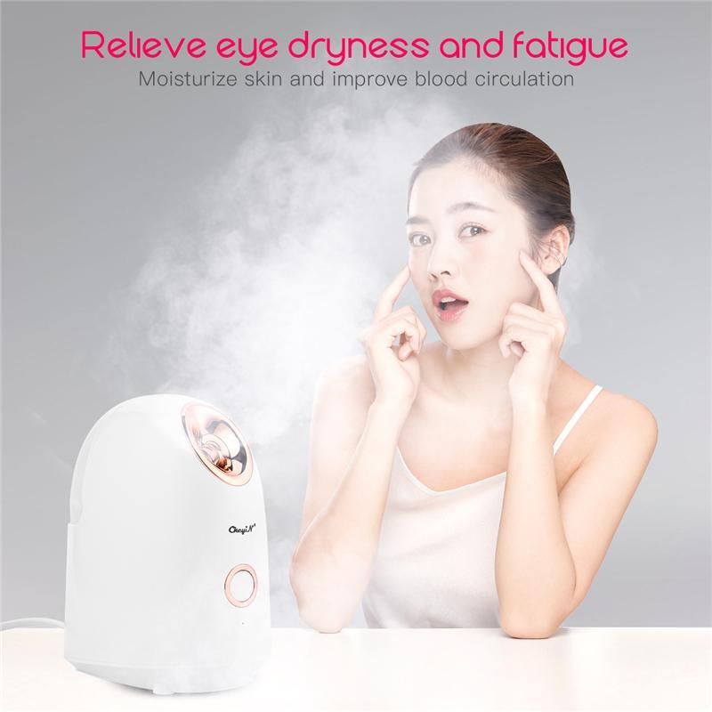 Face Sauna Steamer Electric SPA Facial Vaporizer Professional Nebulizer Nano Ionic Sprayer Moisturizing Deep Cleaning BlackheadR