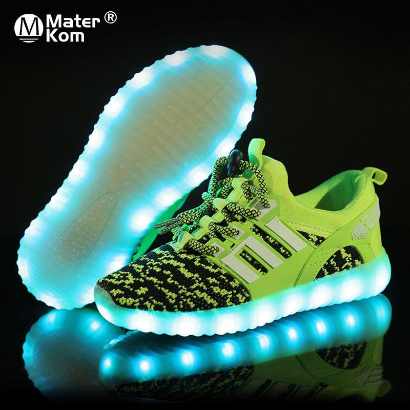 Größe 25-37 Kinder LED-Schuhe für Jungen Mädchen USB-Ladegerät Schoenen Kinder Chaussure Enfant Leuchtendes Glühen Sneaker mit Lichtsohle LJ200908