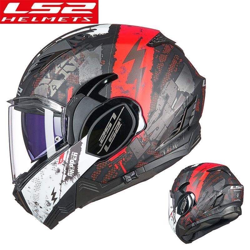 Cascos de motocicleta LS2 FF900 KPA Shell 180 grados Valiant II Flip Up Casco modular con anti-niebla Agujeros Casco Moto Casque