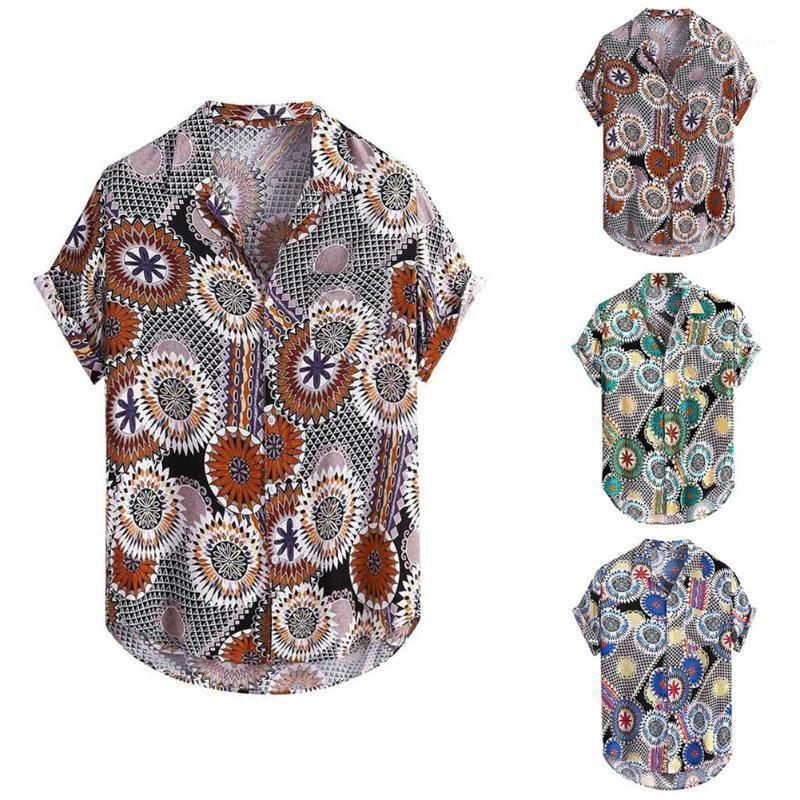 Summer Fashion Men Printed Ethnic Plus Shirts Male Short Sleeve Loose Daily Casual Party Beach Hawaiian Shirt Linen Outfits1
