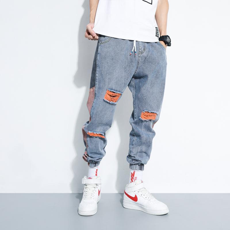 Разрушенные джинсы мужские моды промытые контрастные вскользь джинсовые мужчины уличная одежда свободных хип-хоп брюки брюки мужские m-5xl