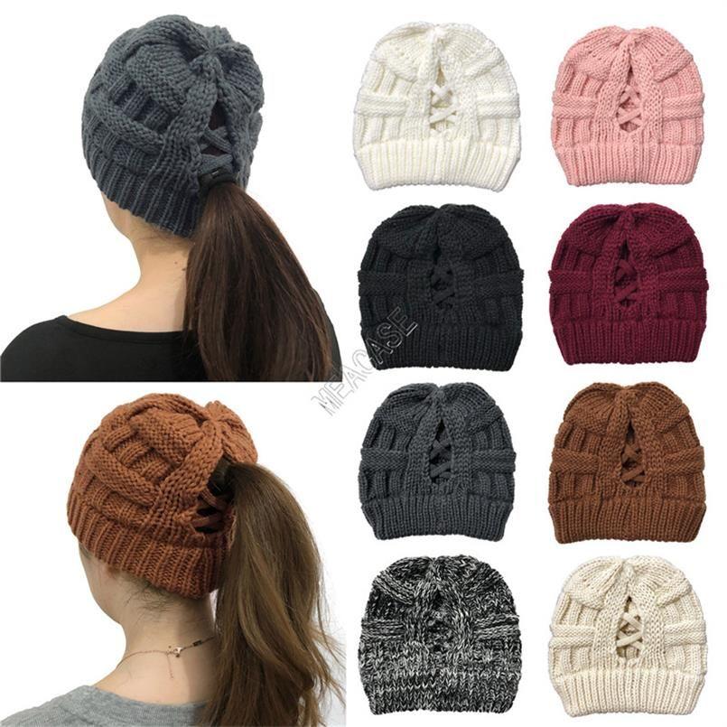 Мода крест хвостик Вязаная Шапочки зимы женщин Warm Лыжные шапки Открытый мягкий эластичный Череп Cap Bonnet Шерстяные Вязаные шапки 8Colors D102705