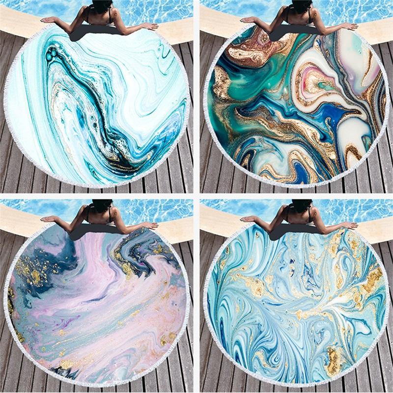 Drucke Circular Strand Großes Handtuch Mikrofaser Quasten Multi Designs Badewanne Dusche Handtücher Abstrakt Marmorierung Yoga-Matte 25LS L2