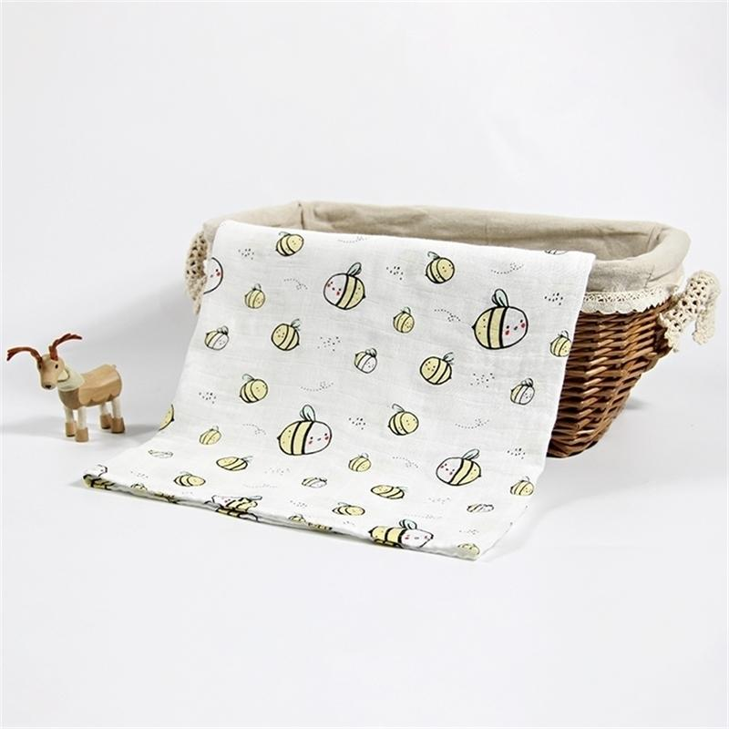 Bamboo Cotton Swaddle Wrap Soft Baby Muslin Neonato Infant Stampa Blanket Y201009