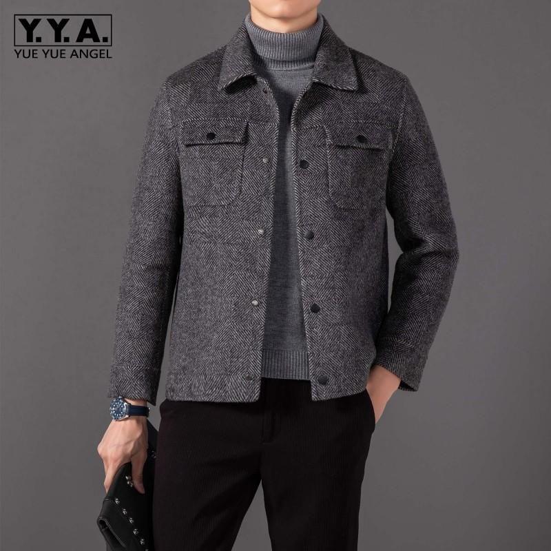 Мужская шерстяная смесь Бизнес Мужчины Осень зима грузовой куртку Высокое качество Винтаж однобортное короткое шерстяное пальто Slim Fit Man Jackets