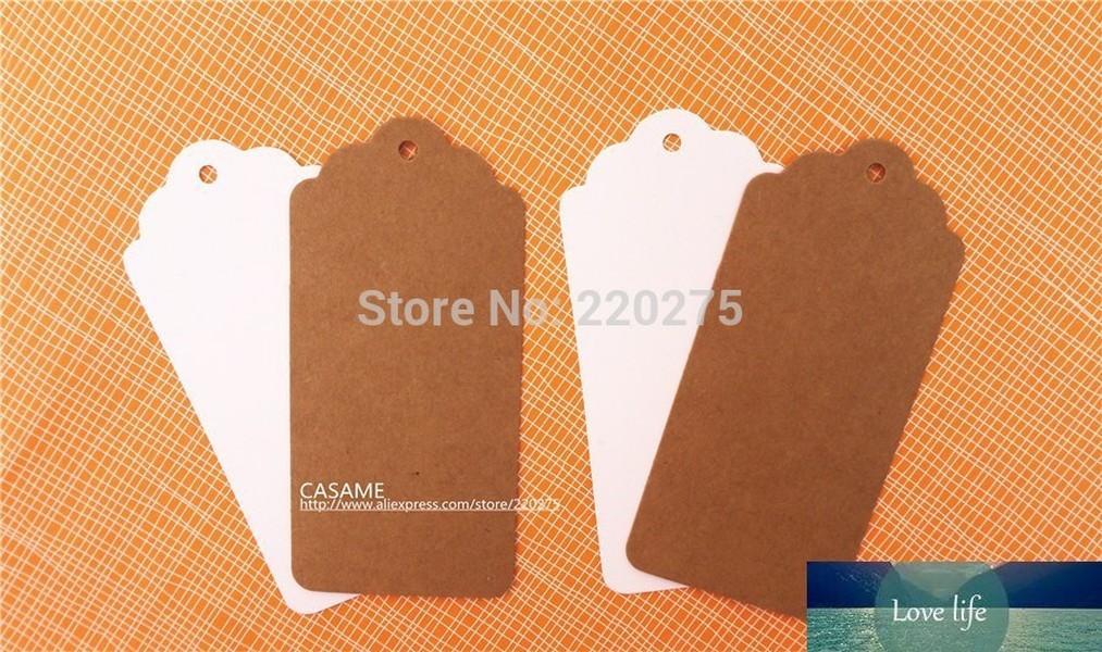 100 unids 350gsm Fallop Kraft Blanco Cuello Tag Retro Regalo Craft Table Número Tarjetas Tarjetas de papel Etiquetas Paquete Decoración navideña