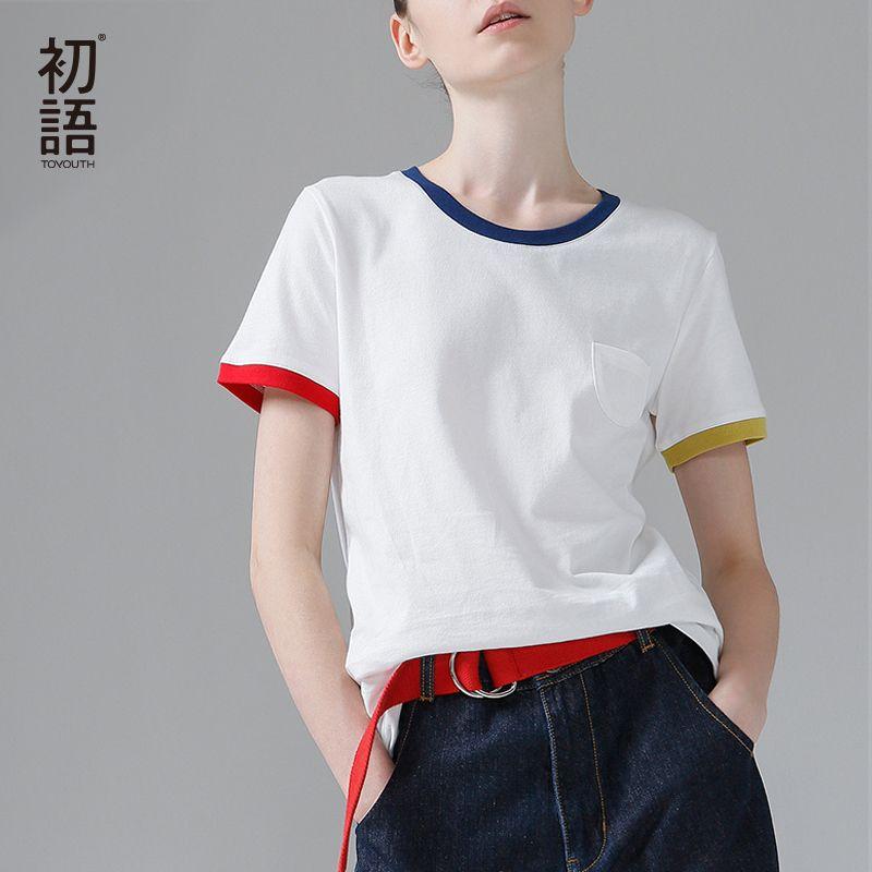Toy South Hit Color Edge Tees para las mujeres Camiseta básica de algodón Casual O-cuello Camiseta Femme S ~ XXL Tops de verano Camisetas de manga corta Y200110