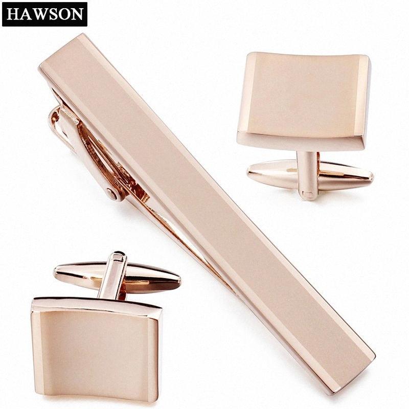 Rose Gold Metal Stulpeverbindung Krawattenklammer-Set für Männer Blank Manschettenknöpfe für Französisch Kleid qwQg #
